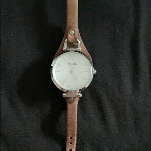 Fossil Stainless Steel Watch with Leather Band